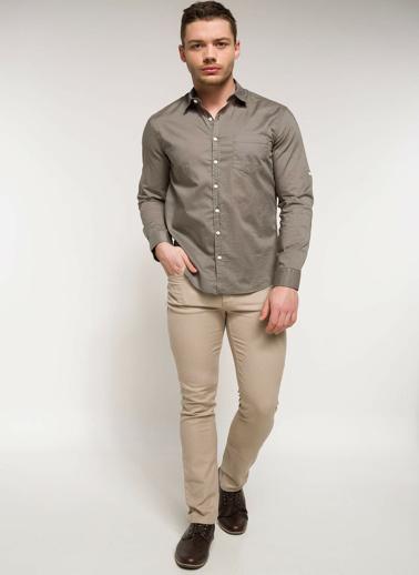 DeFacto Polo Yaka Slim Fit Uzun Kollu Gömlek Haki